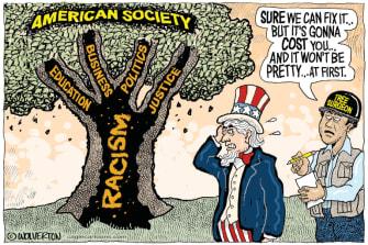 Editorial Cartoon U.S. United States racism