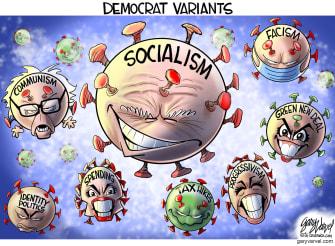 Political Cartoon U.S. democrats covid variants biden