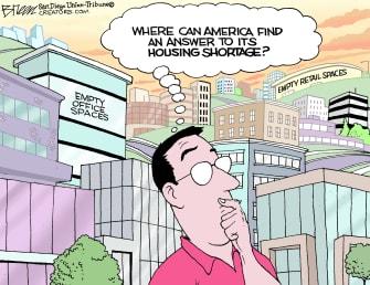 Editorial Cartoon U.S. empty office space housing shortage