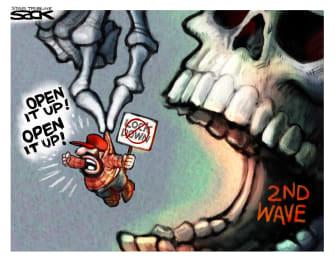 Political Cartoon U.S. Open up the economy protest second wave coronavirus victims