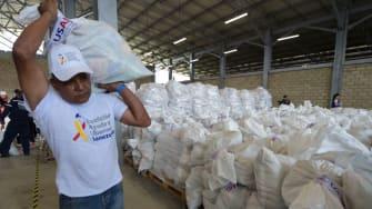 Bags of humanitarian aid sent to help Venezuelans.