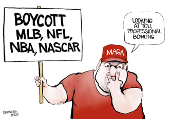 Political Cartoon U.S. maga mlb boycott