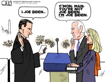 Political Cartoon U.S. Joe Biden Inauguration Gaffes