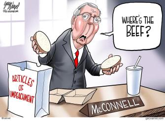 Political Cartoon U.S. Trump impeachment McConnell wheres the beef