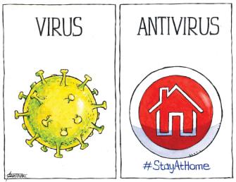 Editorial Cartoon U.S. COVID-19 Coronavirus quarantine home anti-virus
