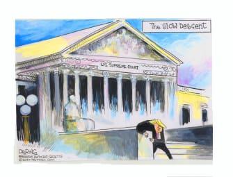 Political Cartoon U.S. Trump supreme court descent