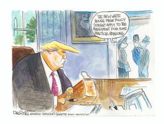 Political Cartoon U.S. Coronavirus Trump mask tanner