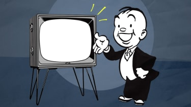 A TV and a salesman.