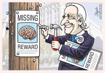 Political Cartoon U.S. Joe Biden Democrats 2020 presidential election campaigning confusion