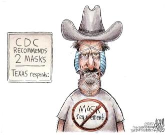 Editorial Cartoon U.S. texas covid mask mandate