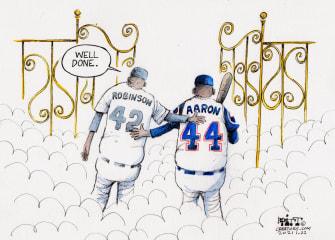 Editorial Cartoon U.S. RIP Hank Aaron Jackie Robinson
