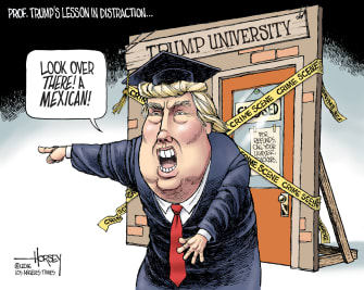 Political cartoon U.S. Donald Trump University
