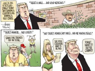 Political cartoon US Donald Trump racist Mexicans women