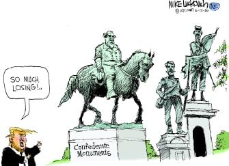 Political Cartoon U.S. Trump confederate monuments