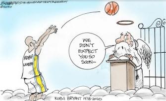 Editorial Cartoon U.S. Kobe Bryant RIP gates of heaven