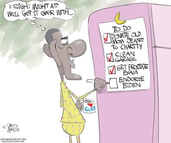Political Cartoon U.S. Obama endorses Biden checks off chore list 2020 election