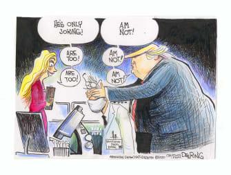 Political Cartoon U.S. Trump coronavirus testing doctors