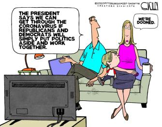 Political Cartoon U.S. Trump Coronavirus Republicans Democrats bipartisanship doomed
