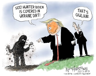 Political Cartoon U.S. trump giuliani fbi raid hunter biden ukraine