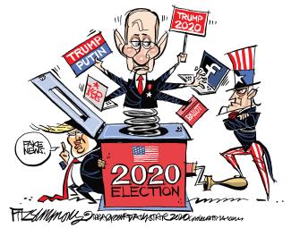 Political Cartoon U.S. Trump Putin 2020 election Russian meddling Facebook