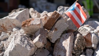 Earthquake rubble in Puerto Rico.
