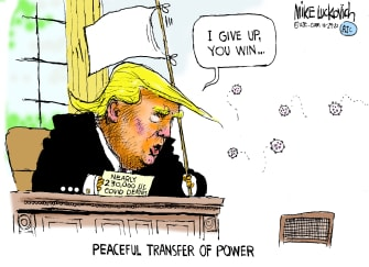 Political Cartoon U.S. Trump COVID surrender