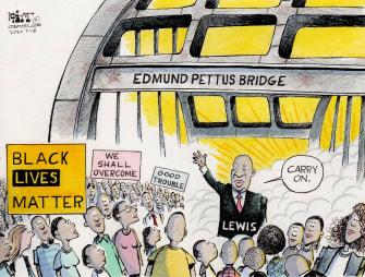 Editorial Cartoon U.S. John Lewis RIP Edmund Pettus bridge