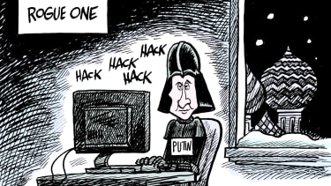 Political cartoon U.S. Putin hacking Star Wars Rogue One