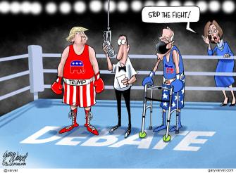 Political Cartoon U.S. Trump Biden Pelosi 2020