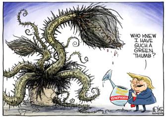 Political Cartoon U.S. trump xenophobia anti asian hate