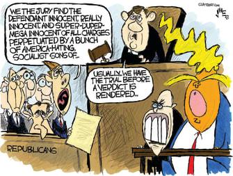 Political Cartoon U.S. Premature Republicans Trump Impeachment Innocence