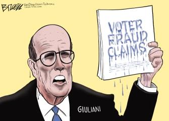 Political Cartoon U.S. Giuliani Trump press conference
