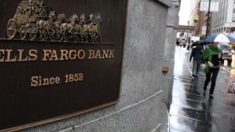 A Wells Fargo bank sign.