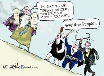 Political cartoon U.S. ten commandments never trumper