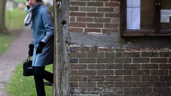 Britain's Theresa May leaves church before Brexit vote