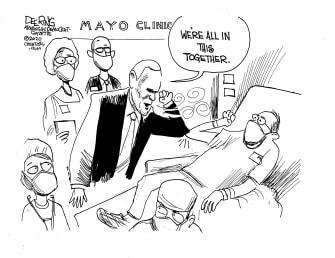 Political Cartoon U..S. Pence visits Mayor clinic no masks coronavirus