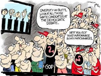 Political Cartoon U.S. GOP diversity democratic debate