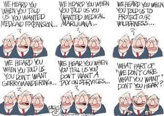 Political Cartoon U.S. Politicians Local Hard of Hearing