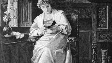 19th century sketch of a woman reading.