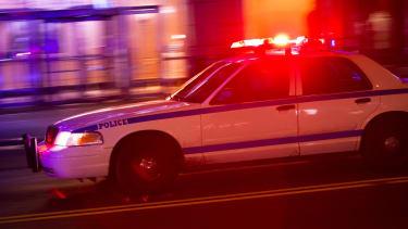 A police car at night.