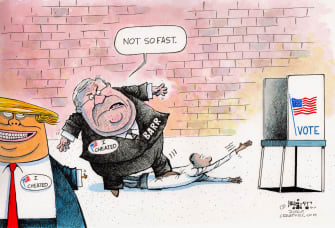 Political Cartoon U.S. Trump Barr 2020 voter suppression