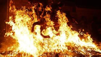 A horse riding through fire.
