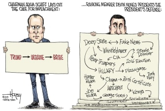 Political Cartoon U.S. Adam Schiff Devin Nunes Defense