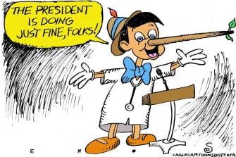 Editorial Cartoon U.S. Sean Conley Trump COVID Pinocchio