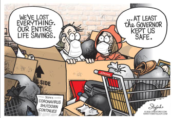 Political Cartoon U.S. coronavirus Americans lost savings governors reopen business