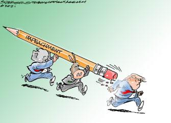 Political Cartoon U.S. Trump impeachment capitol riot
