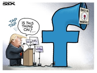 Political Cartoon U.S. trump facebook ban