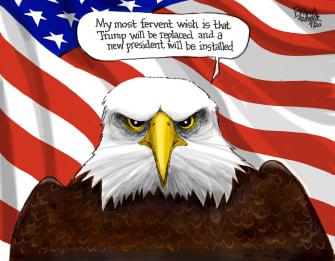 Political Cartoon U.S. Trump Biden 2020 election