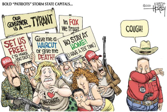 Political Cartoon U.S. protesters storm state capital stay at home scared