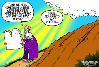 Political Cartoon U.S. God Moses Coronavirus 10 commandments preachers pandemic